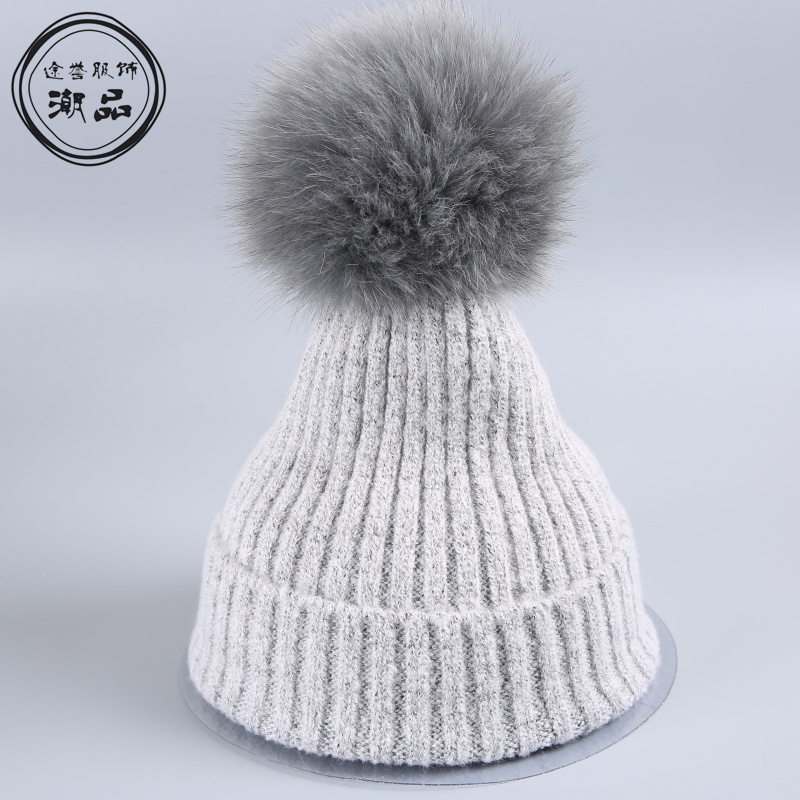 mink and fox fur ball cap pom poms winter hat for kids girl's boys wool hat knitted beanies cap brand thick femal children cap new star spring cotton baby hat for 6 months 2 years with fluffy raccoon fox fur pom poms touca kids caps for boys and girls