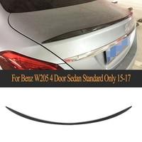 Carbon Fiber Car Rear Trunk Wing Spoiler For Mercedes Benz C Class C180 C200 C250 C63 AMG 4 Door 2015 2019 Black PU