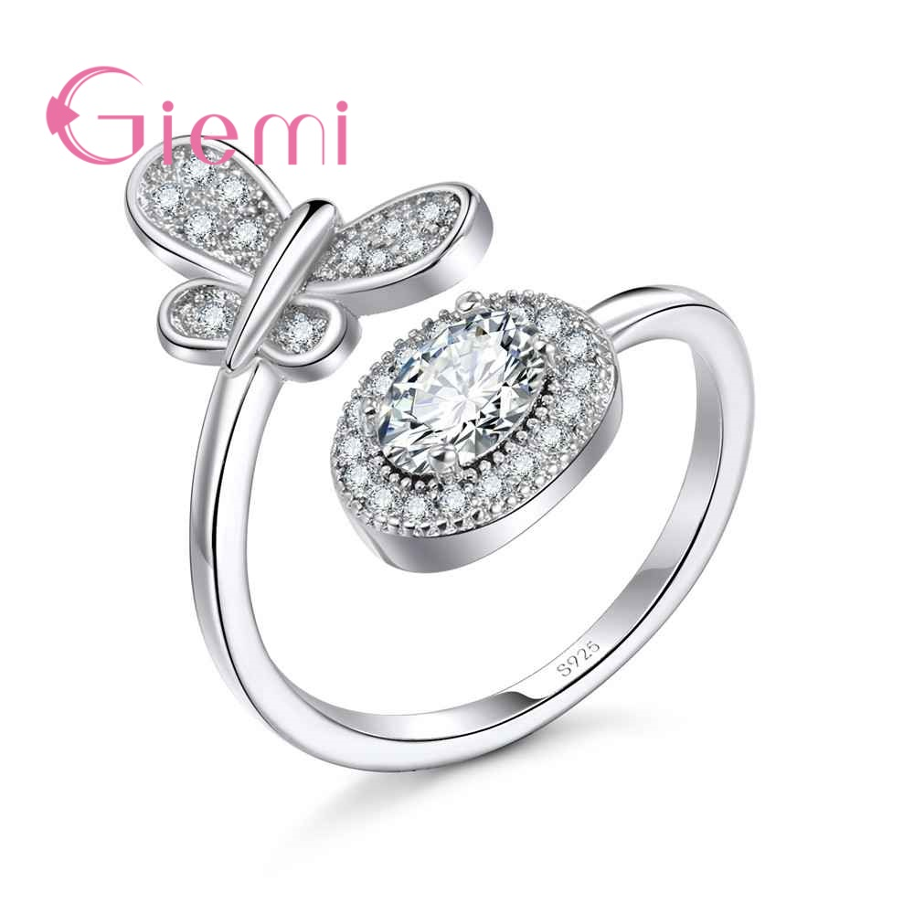 GIEMI Valentines Day Deals 925 Sterling Silver Stackable Finger Classic Open Ring for Women Wedding Fine Jewelry Resizable ...