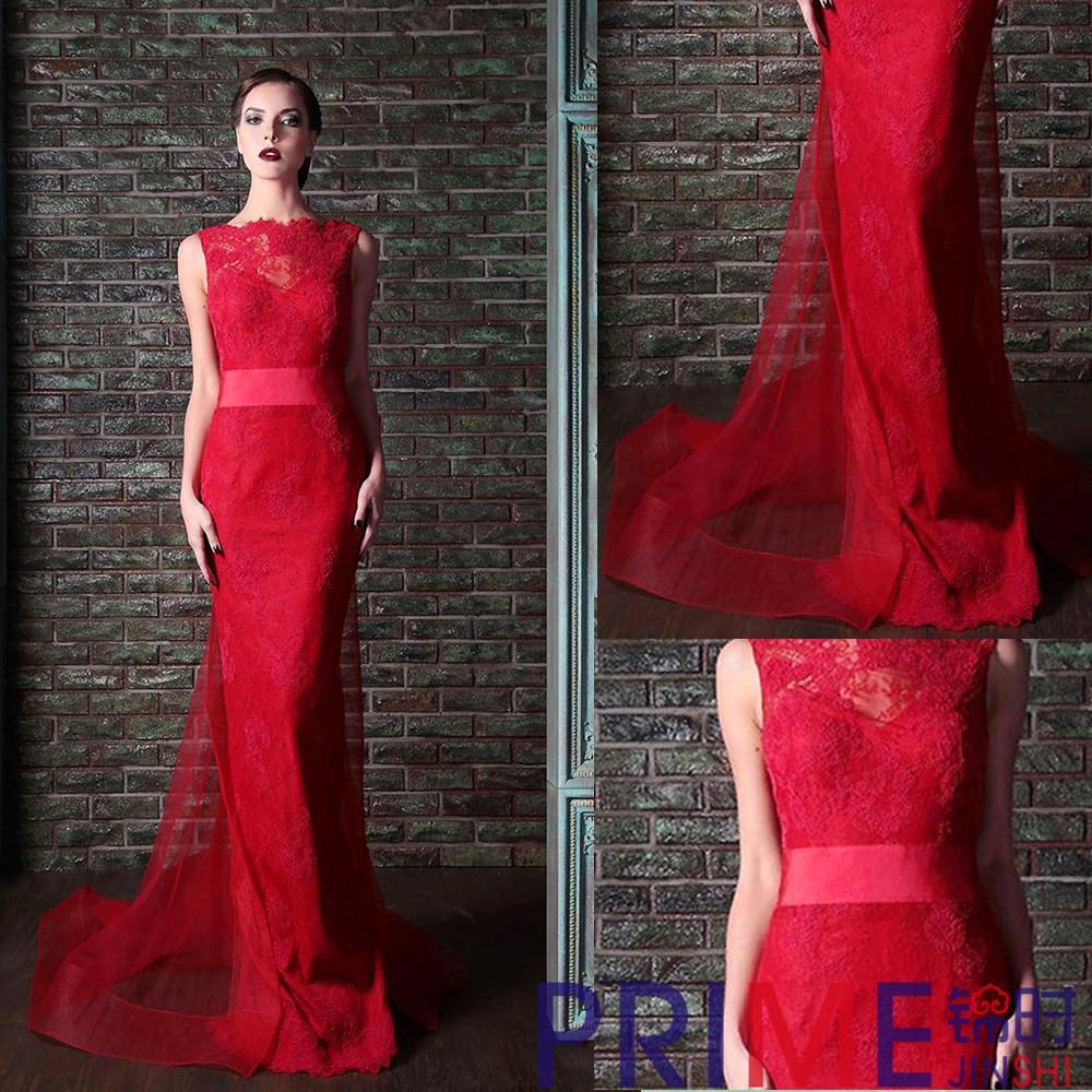 PRIME JS 2015 Hot Sale Red Retro Prom Dresses Lace Open Back Organza ...