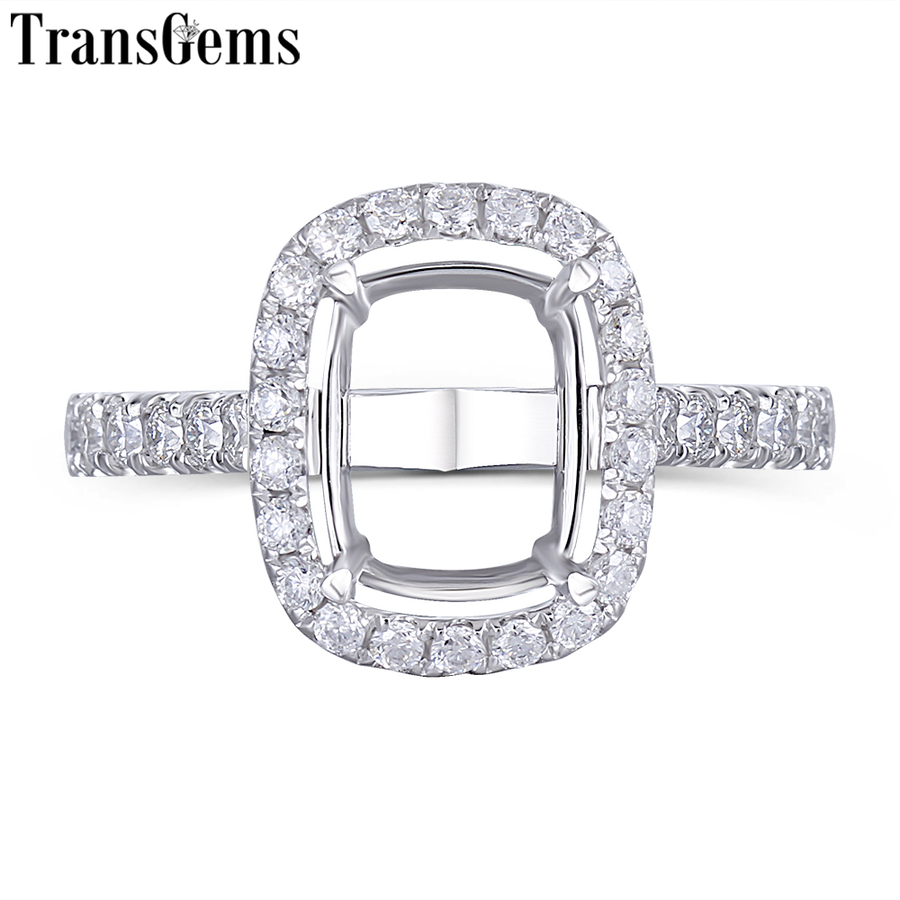 Transgems 14K White Gold Halo Type Ring Semi Mount without a 7 9mm Cushion Gemstone but