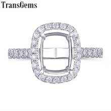 Transgems 14K White Gold Halo Type Ring Semi Mount without a 7*9mm Cushion Gemstone but with Moissanite Accents Customized Ring austrialian fire opal marquise shape 5 10mm 100% natural gemstone ring with moissanite in 14k rose gold with gift box
