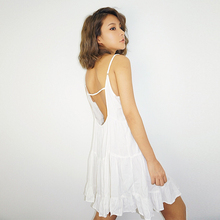 White Beach Short Dress for Seaside Holiday Womens, Summer 2019 New Sexy Backless Dress, with Pure Colour Round Neck