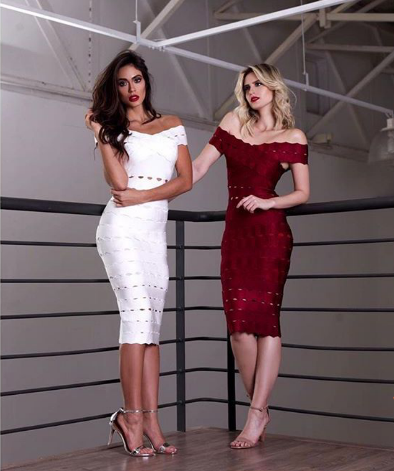 Alta calidad mujeres blanco vino rojo corte cuello ojo de cerradura celebridad rayón vendaje vestido de noche fiesta estado de ánimo