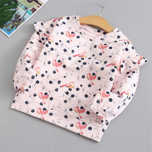 New Autumn Winter Cute Girls Sweatshirt Long Lace Sleeve Cartoon Bird Print Children T-Shirt Tops Baby Girl Fall Clothes 3-8Y boys and girls cartoon sweaters 2017 autumn winter new children knitting clothes baby casual cotton knit wear pullover tops 3 8y