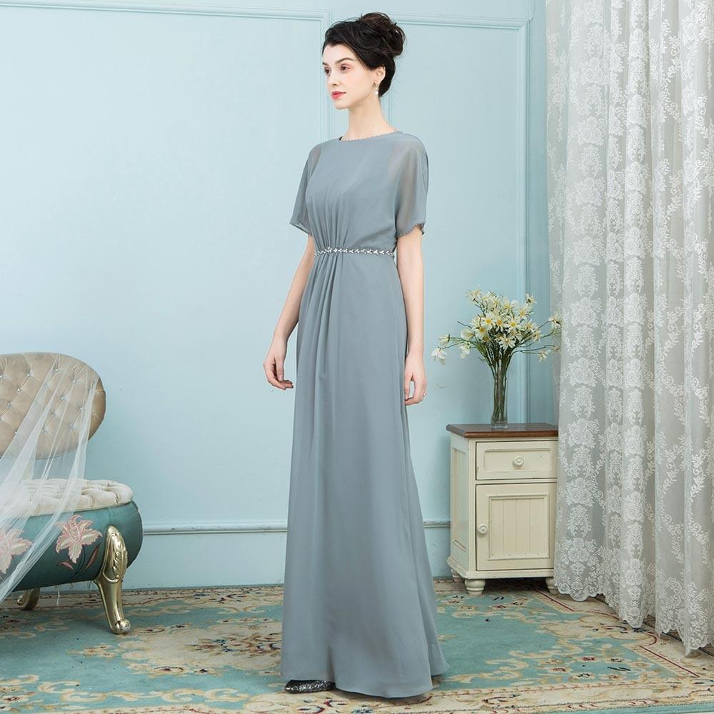 BeryLove Unique mère de la mariée robes manches courtes longue en mousseline de soie 2019 femmes robe de soirée de mariage mère robe de soirée maman - 2