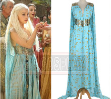 New Arrival Game of Thrones Costume Daenerys Targaryen Blue Dress Cosplay