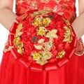 Rojo Real de Novia Ramos de Boda Hermoso Hecho A Mano Barato Modest Sexy Crystal Beads Hecho A Mano Ramo de Novia tusw priodas