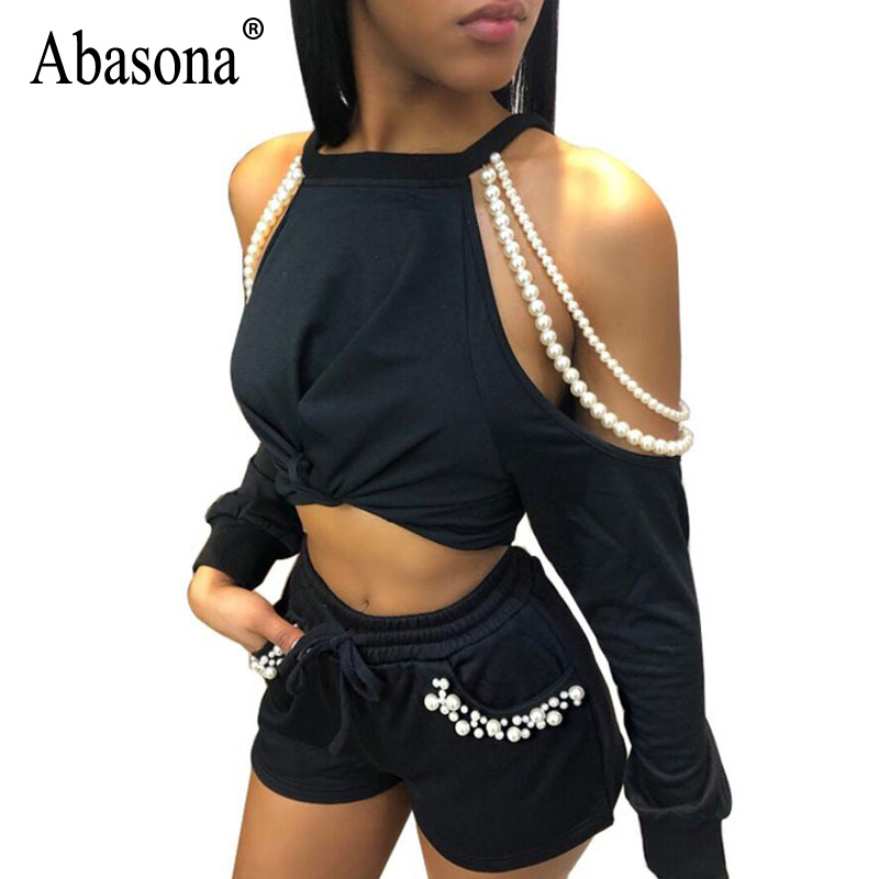 Abasona Off Shoulder Knot Front Romper Women Scoop Neck Pockets 2 Pieces Solid Playsuits 2018 Boho Rompe ...