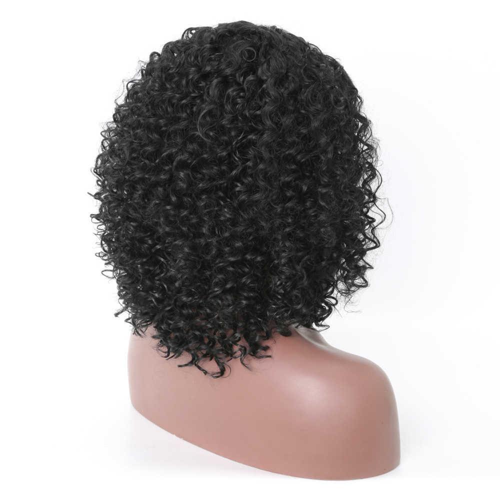 Женский аксессуар для укладки короткий афро кудрявый смешанный цвет сторона взрыва женские синтетические волосы парик Серый и Белый Черный блонд цвет