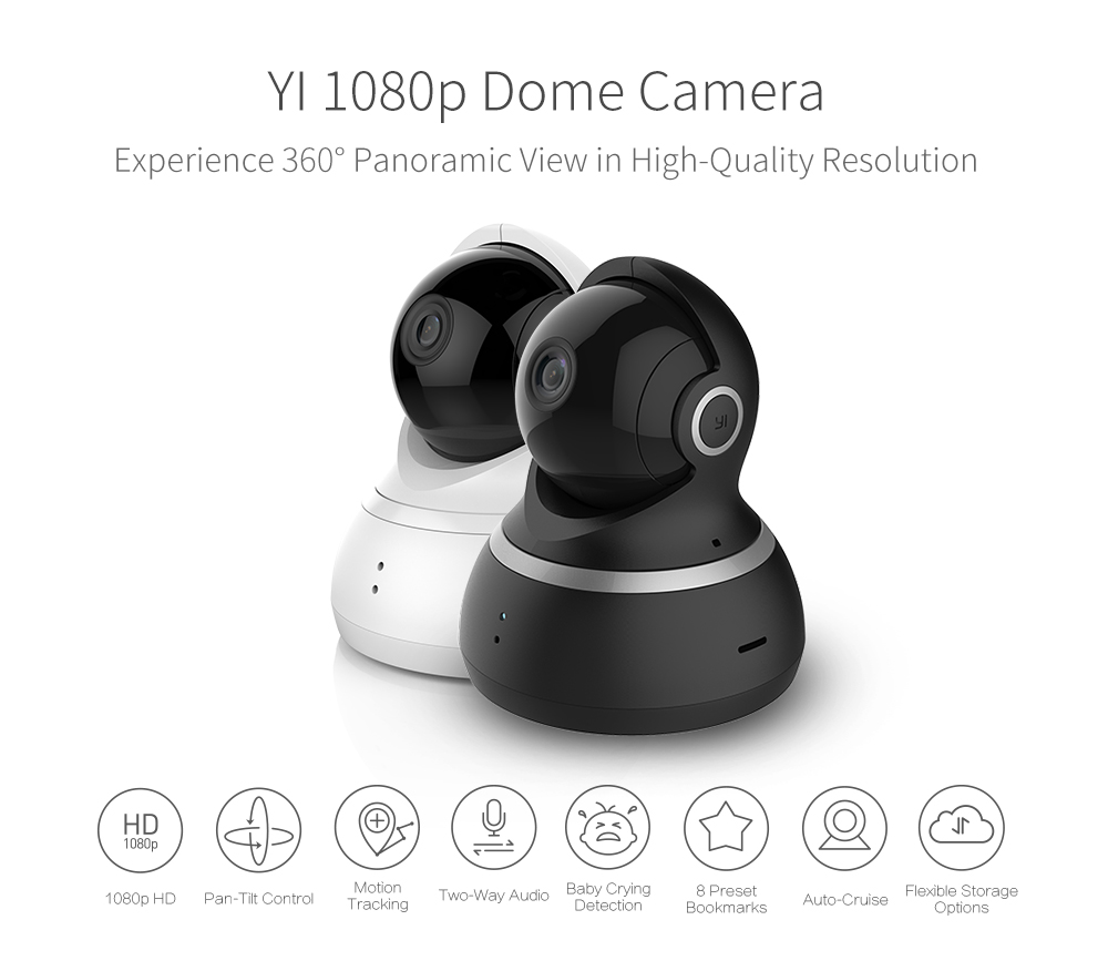 Wireless Yi 360º Dome Camera With 1080p Full-HD Coverage Best Security System Cameras camera Security Camera Yi Dome Camera