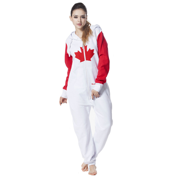 bd3ad4059ab0 Nordic Way Hoody Canadian Flag Playsuit Printed One Piece Jumpsuit Onesie  Onezie Brushed Fleece Cotton Comfy Romper
