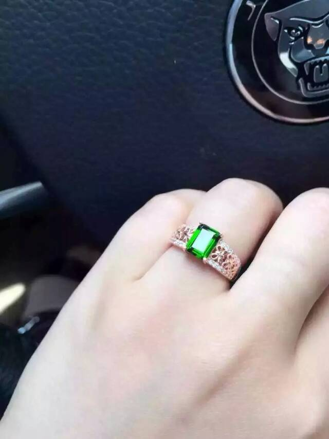 Natural green diopside gem Ring Natural gemstone ring 925 sterling silver trendy Elegant Square women girl party Jewelry