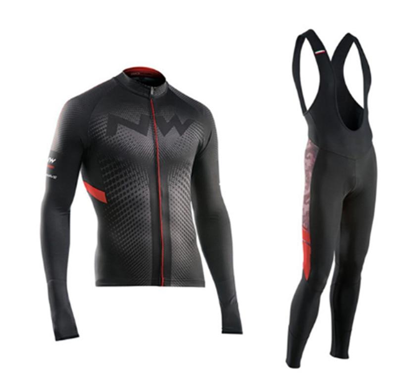 2017 Pro NW Cycling Team Jersey À Séchage Rapide À Manches Longues Jersey Et Pantalon à Vélo à Bretelles Mis Cyclisme Vêtements Respirant