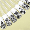 108Pcs 3D Silver Flower Nail Art Stickers Decals Stamping DIY Decoration Tools G6712