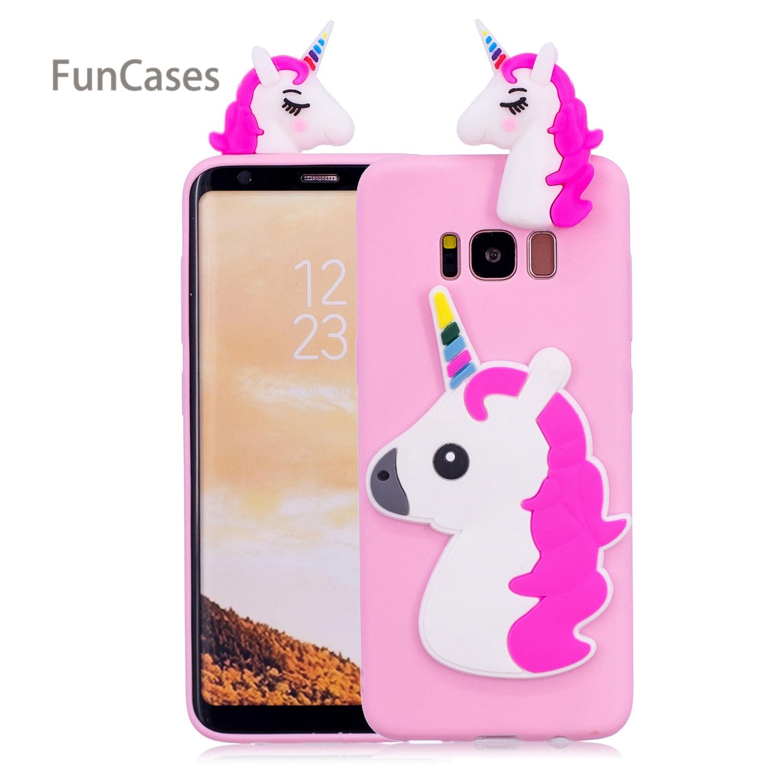 Cute Unicorn Phone Case sFor Funda Samsung S8 Plus Soft Silicone Phone Case Hoesje Animal Flip Case For Samsung Galaxy S8 Plus
