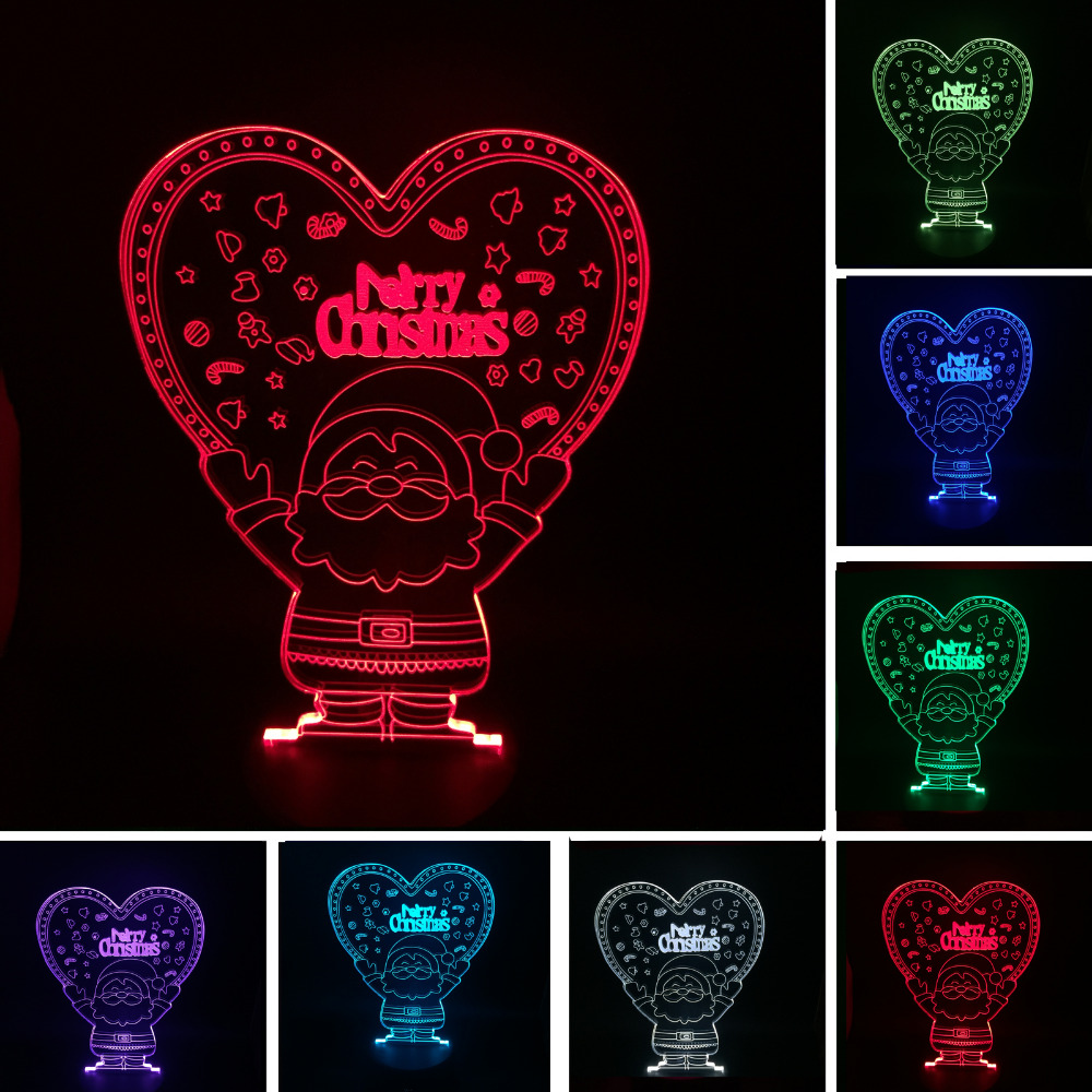 Novelty 3D Bulbing Santa Claus Love Heart Night Light 7 Color Changeable lampada Table Bedside Bedroom Home Mall Lamp Decor Gift