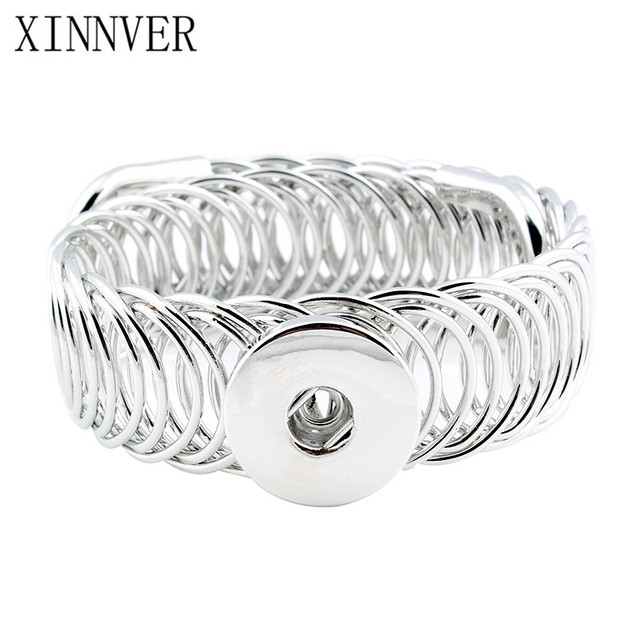 Fashion DIY Snaps Bracelets Elasticity Adjustable Bangles fit 18mm Snaps Buttons Jewelry For Women ZE080