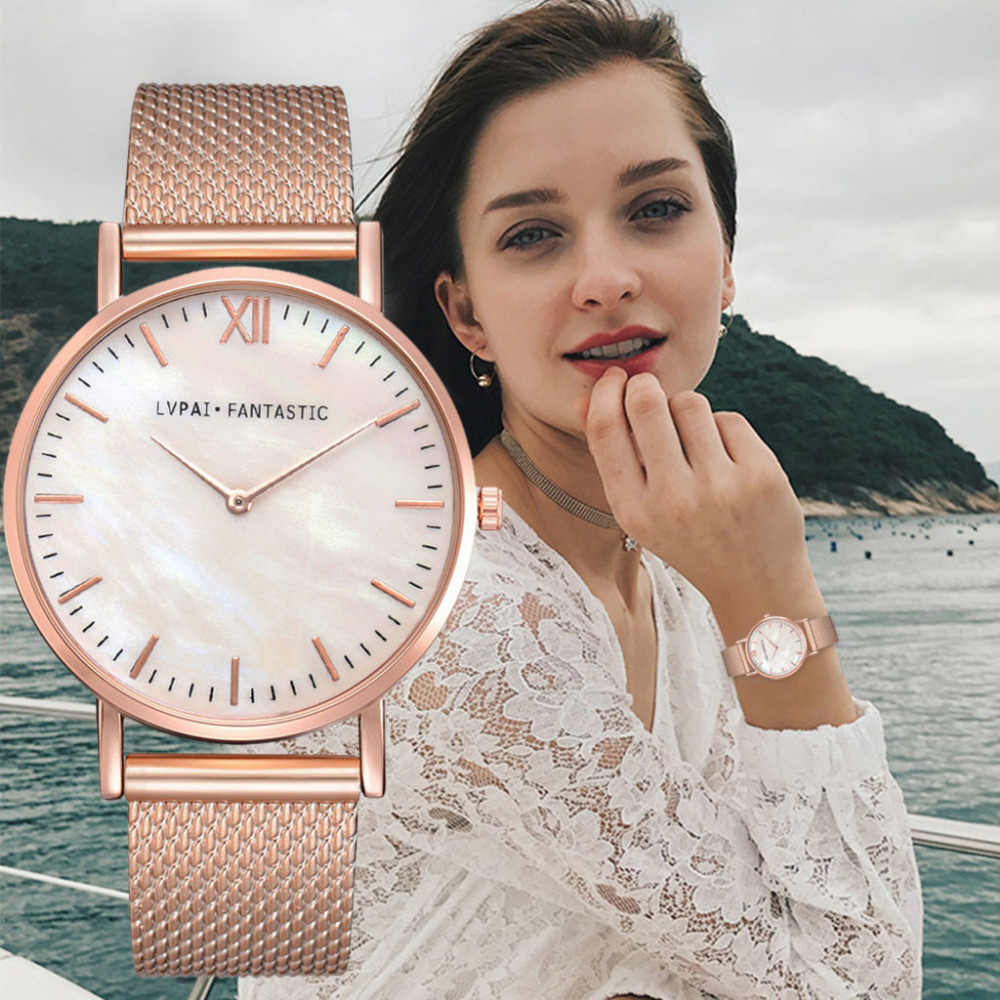 Women's Watches 2019 Marble Gold Sliver Mesh Belt Casual Clock Quartz Stainless Steel Band Analog Wrist Watch montre femme