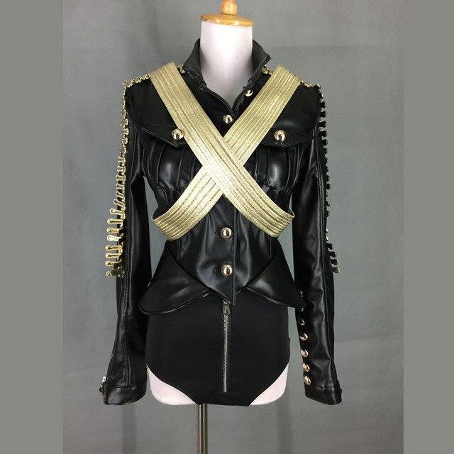 Nueva moda negro manga larga ropa de cuero para mujer cantante Ds Dj traje ropa Sexy demostración de la etapa del desgaste del funcionamiento