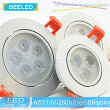 aluminum 110V 220V dimmer Dimmable LED lamp 3W 5W 7W Free shipping lights Recessed led ceiling light Spot white body