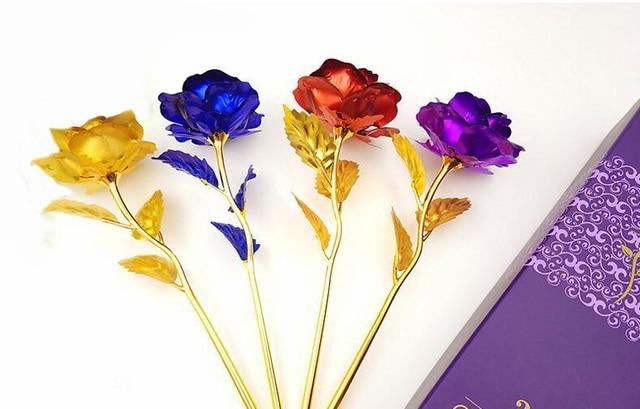 24 K Hoja De Oro de color Plateado Oro de Rose de color Flor ...