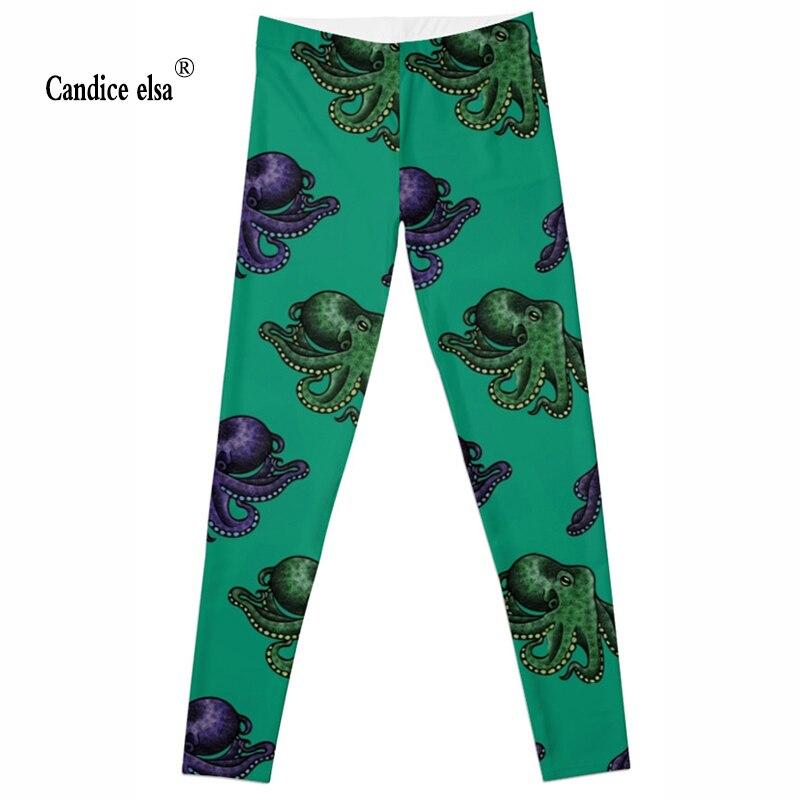 CANDICE ELSA women leggings elastic fitness legging octopus print leggins workout female pants drop shipping plus size