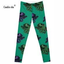 Leggings 2016 New Brand  3D Print Women Black High Waist Pants Wear Super Soft of new model green colour octopus