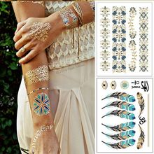 2pcs/lot Algeria Arabic Indian Colored Blue Flash Tattos Gold Silver Tatoo Metallic Temporary Tattoo Sheets Sticker On Body