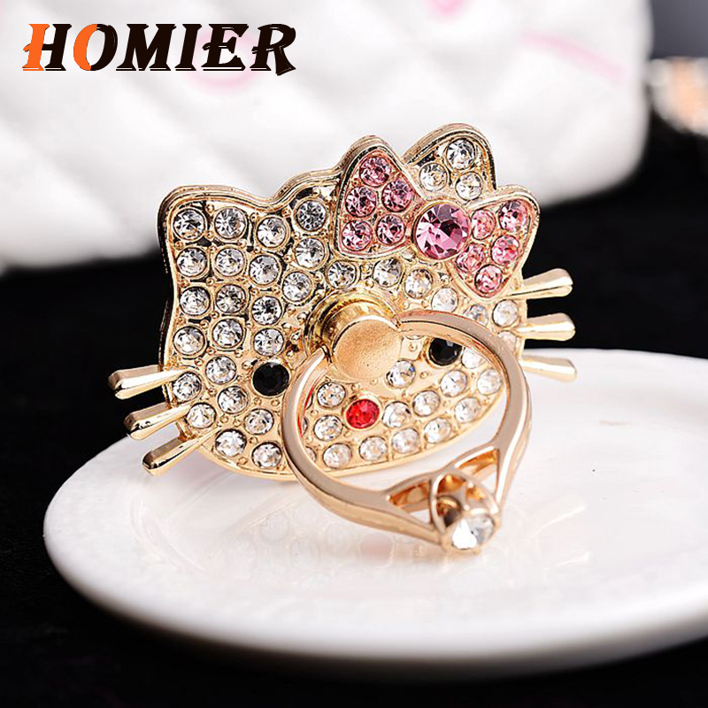 Universal Luxury  Diamond Hello Kitty Glitter Finger Ring Cartoon Phone Holder Stand For IPhone Sansumg Mobile Phone Tablet