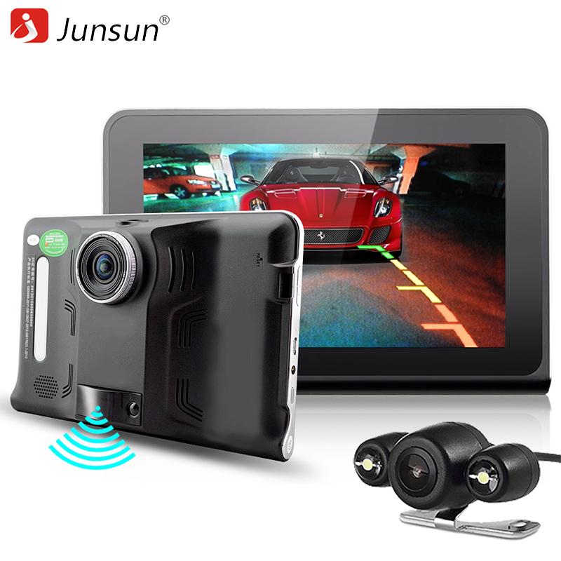 """Prix pour Junsun nouveau 7 """"voiture DVR caméra détecteur de radar Android GPS Navigation auto G-Capteur arrière vue caméra Double lentille camion gps De Voiture dvr"""