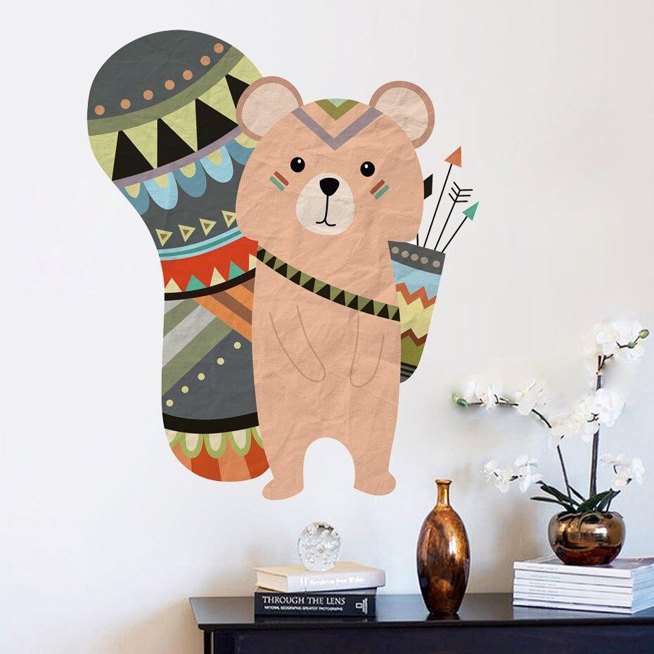 cartoon animal tribal bear wall decal woodland animals bear stickers for kids room nursery. Black Bedroom Furniture Sets. Home Design Ideas