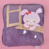 2 in 1 Multi function Window Rabbit Plush Cushion, Kids Child Plush Blanket Pillow Gift Free Shipping