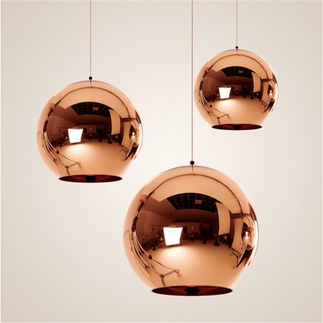 Modern Pendant Lights Globe Pendant Lamp Copper Glass Mirror Ball