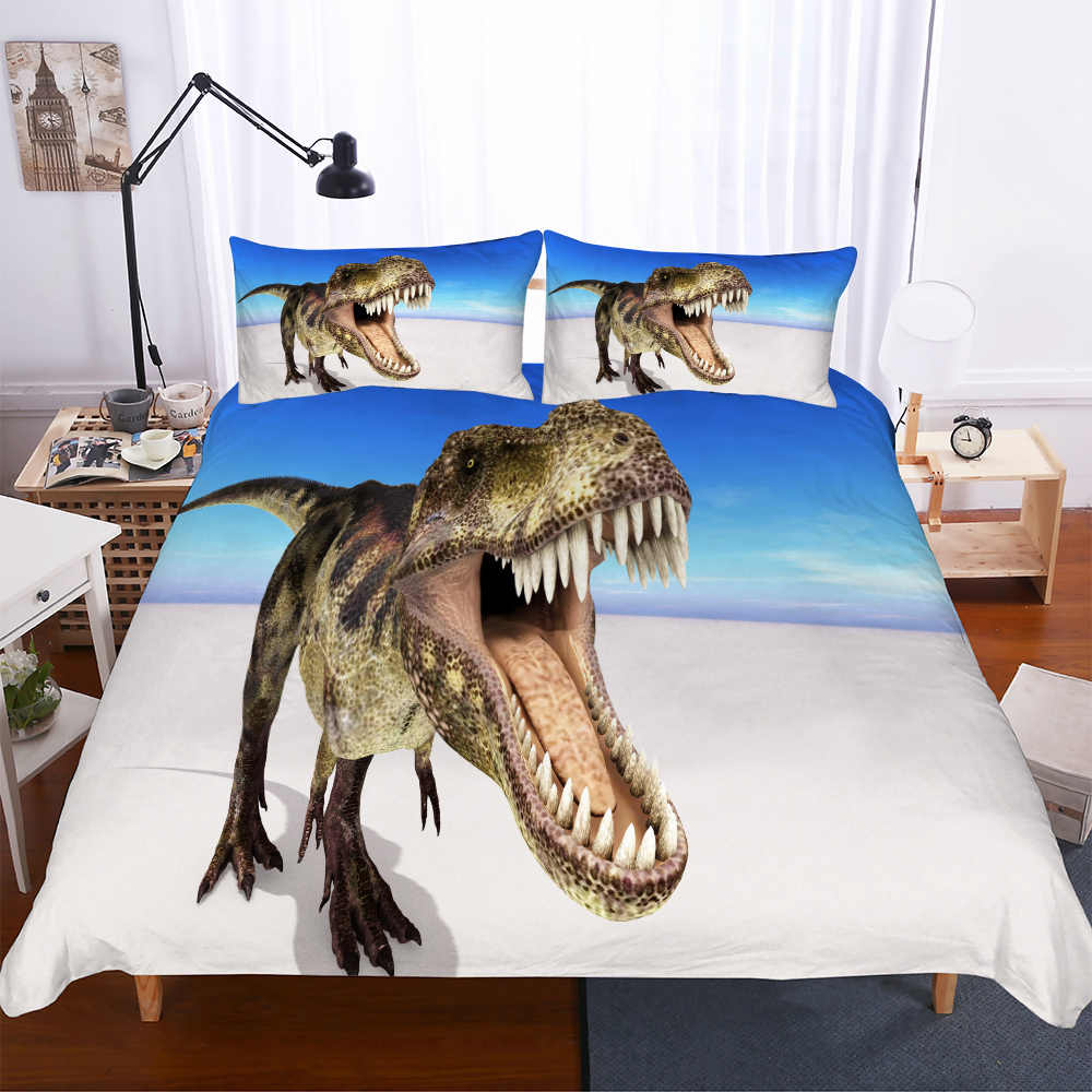 Blue Sky ชุดเครื่องนอน 3D พิมพ์ Jurassic ไดโนเสาร์ไมโครไฟเบอร์ผ้านวมชุดครอบครัวชุดผ้าปูที่นอนปลอกหมอน 2/3 pcs เด็กผ้าปู