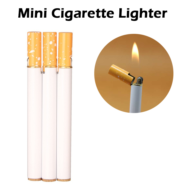 No Gas Outdoor Mini Compact Jet Butane Lighter Metal Windproof Flint Cigarette Shaped Inflatable Gas Lighter Cigarette Security