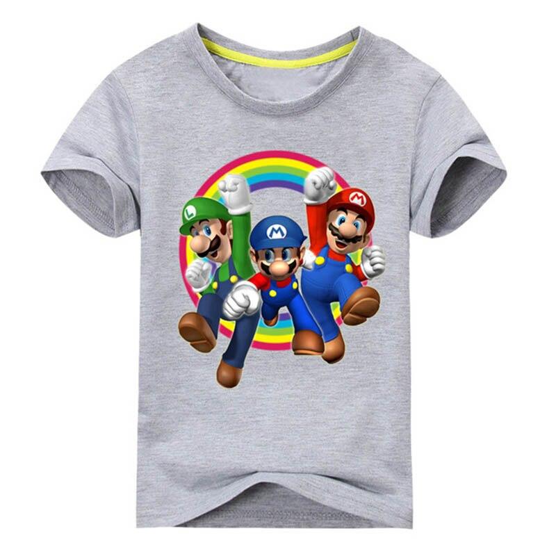 Children Super Cartoon 3D Mario Print T Shirt For Boy Girls Summer Short Sleeves T-shirt Kids Cotton Tee Tops Mario Shirt Kids cotton bull and letters print round neck short sleeve t shirt