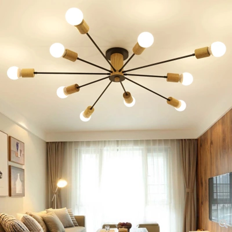 Modern minimalist living room ceiling lamp E27 bulb rubber wood art Nordic style iron home decor lighting lamp nordic style living room hall lamp modern minimalist solid wood bedroom ceiling lamp led home iron antler lamps