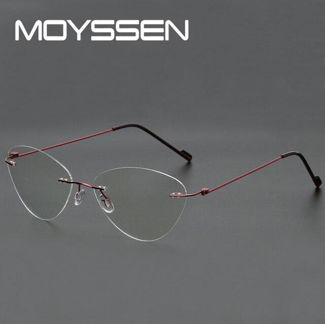 beb5ff945a18 MOYSSEN Fashion Women Cat Eye Rimless Glasses Frame Men s Flexible Simple  Style Optical Myopia Customized Eyewear Frames
