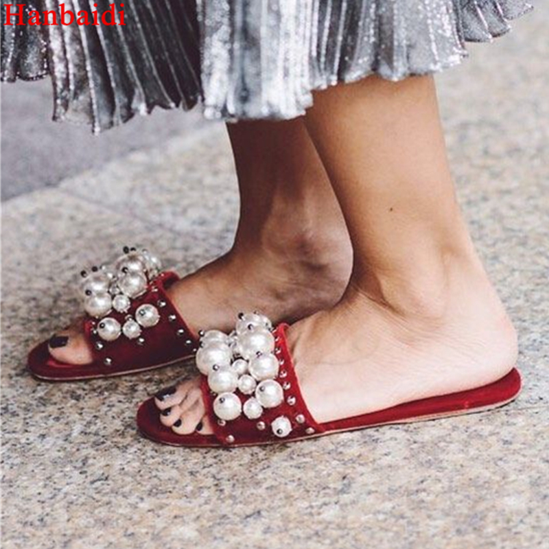 Hanbaidi Luxury Handmade String Bead Pearl Mules Peep Toe Flats Floral-Embroidered Street New Fashion Women Slippers & Loafers