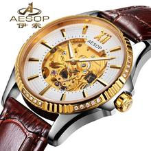 AESOP 9965 Switzerland watches men luxury brand hollow diamond skeleton leather strap automatic mechanical relogio masculino