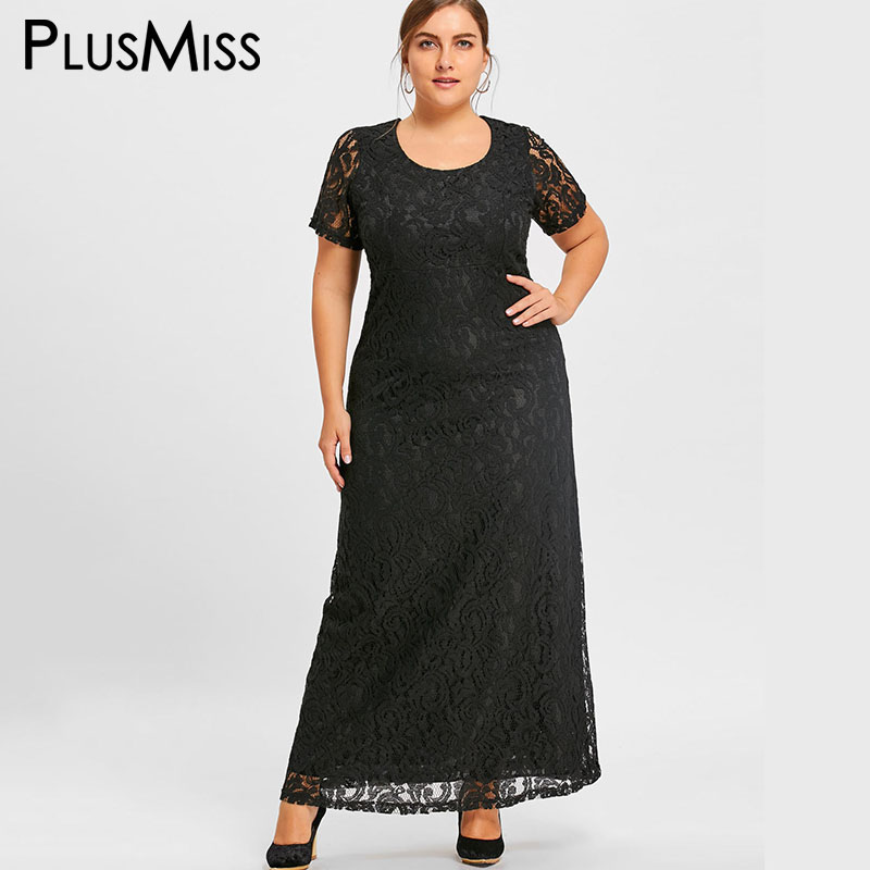 PlusMiss Plus Size 7XL Elegant Lace Crochet Maxi Long Dress Women Clothing Short Sleeve Formal Evening Party Dress Large Size long sleeve keyhole lace short formal shift dress