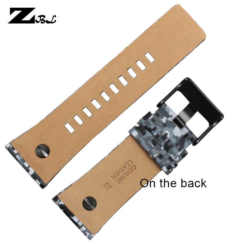 Pulsera de cuero de 28mm correa de reloj correa de color para relojes diésel banda con uñas DZ7311/7314/7332/ 7348 relojes de correa