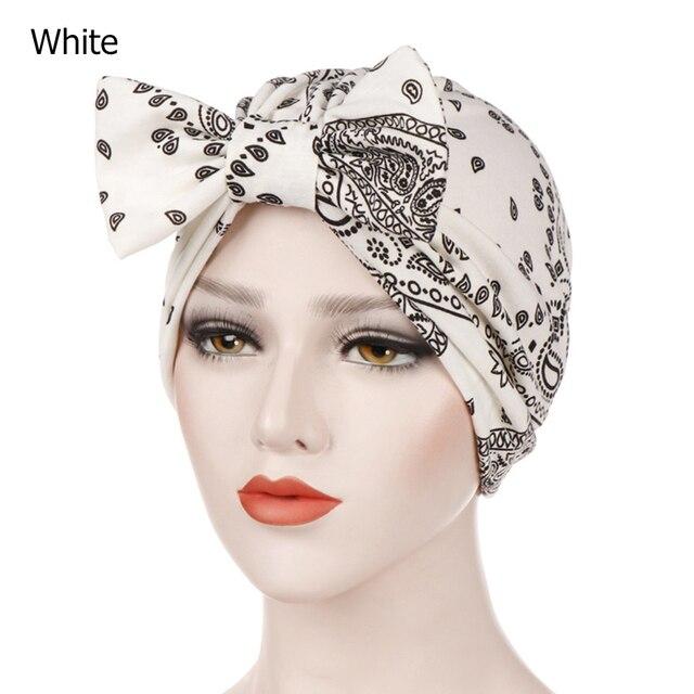 e1fcae808 US $2.26 19% OFF Bowknot Print Stretch Muslim Hijab Women Islamic Jersey  Turban Cotton Hat Cancer Chemo Cap Head Wrap Beanie Scarf Hair Loss Cap-in  ...