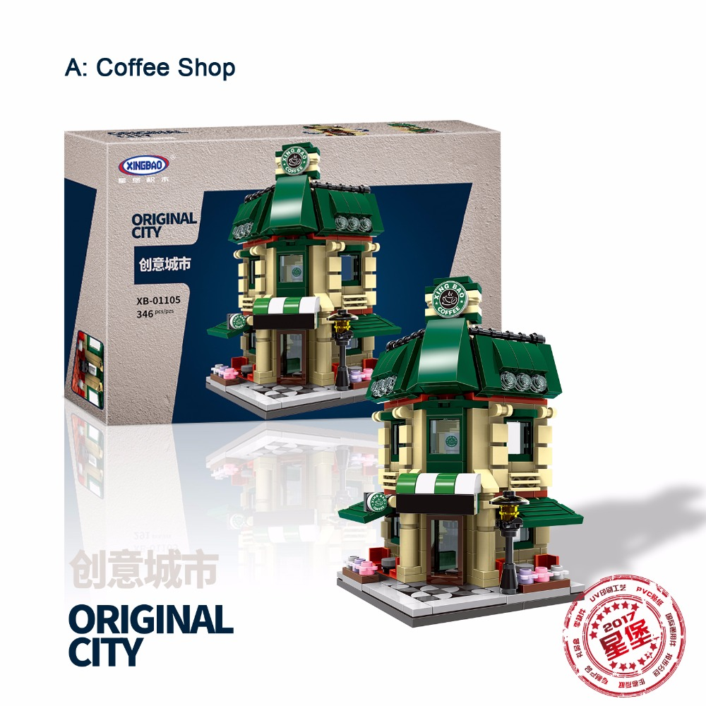 4 set/lot 1079pcs XingBao 01105 Original Building Blocks Coffee Shop/Wedding shop/Flower Shop/Pet Shop Building Model Bricks Toy