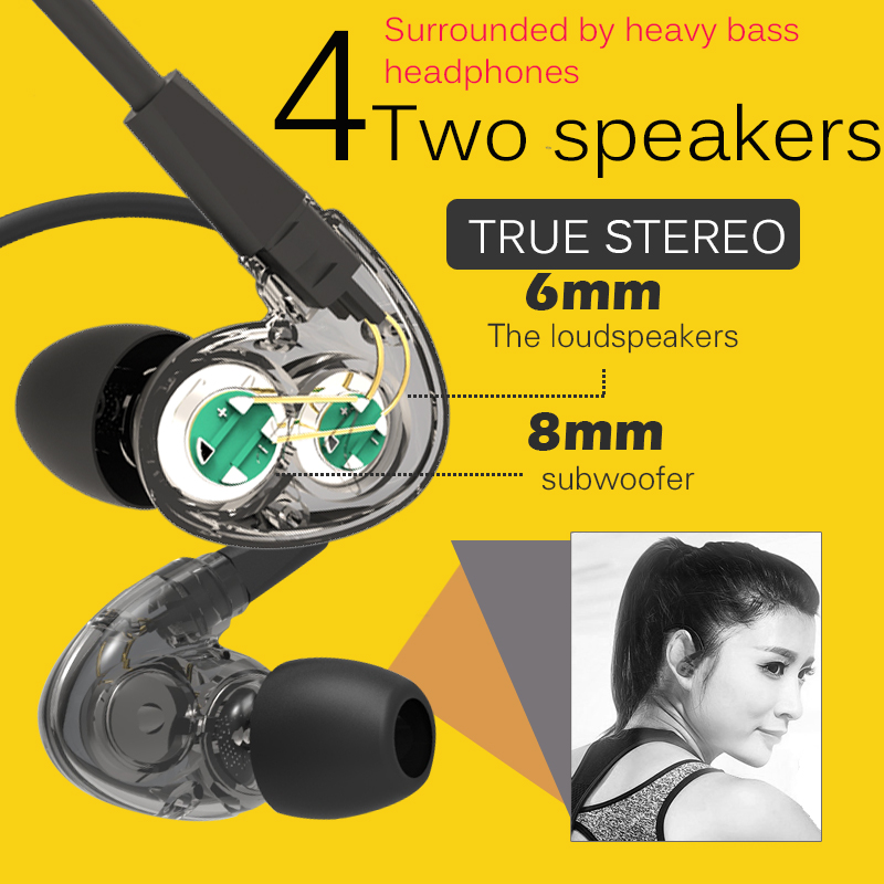 DOboly X18 sports earphone  computer phone earbud headset  bass magic sound headset Transparent dual-core 4- speaker surround
