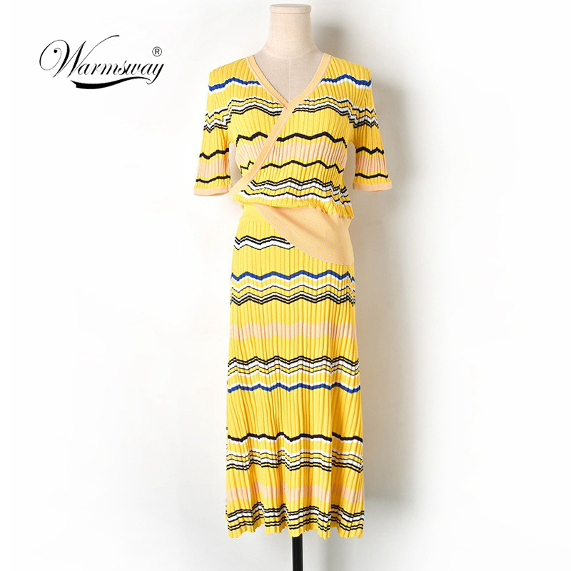 Yellow Women s 2 pieces Knitted Set 2019 Women V neck Waves Striped Short Sleeve Pullover