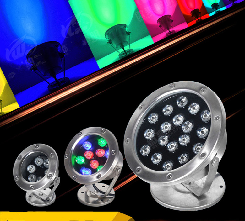 6w 12W 18w 24w 36w IP68 Led Underwater Light RGB Outdoor Waterproof Colorful Water Spotlight Swimming Pool Light Fountain Light