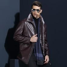 Men's Geniune Sheepskin Jacket Male Winter Fur Coat Men Fleece Business Dress Men Thick Leather Overcoat Men Brand Wool Jacket