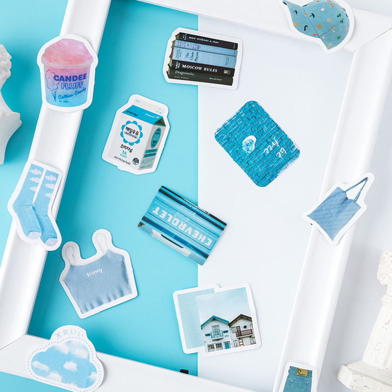 Купить с кэшбэком 46pcs/box Blue girl Kawaii paper stickers Diary decoration diy scrapbooking label seal Hand account sticker stationery